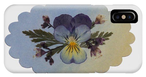 Viola Pressed Flower Arrangement IPhone Case