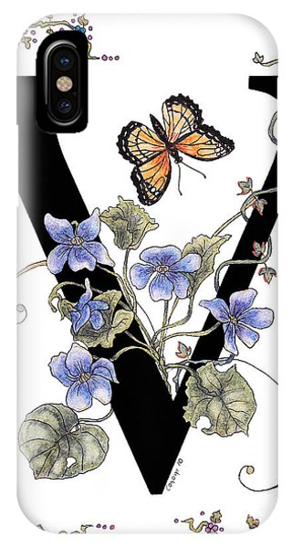 Violets And A Viceroy Butterfly IPhone Case