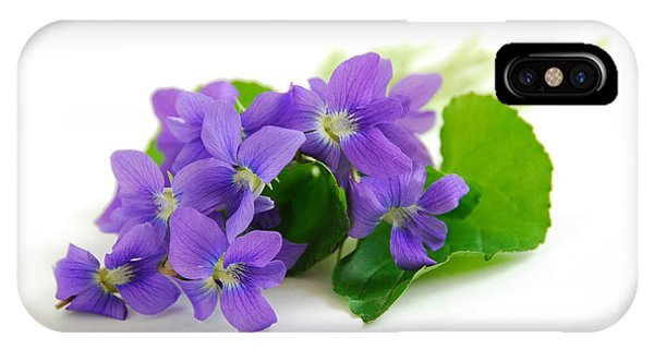 Wild Violet iPhone Case - Violets On White Background by Elena Elisseeva