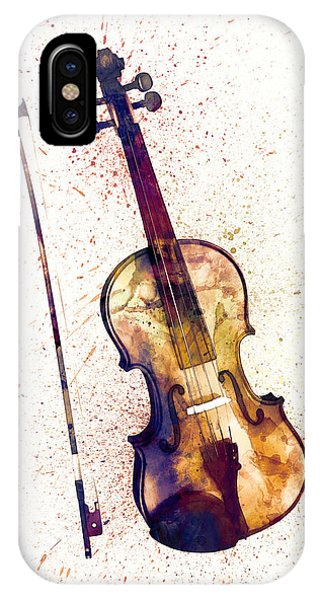 Musical iPhone Case - Violin Abstract Watercolor by Michael Tompsett