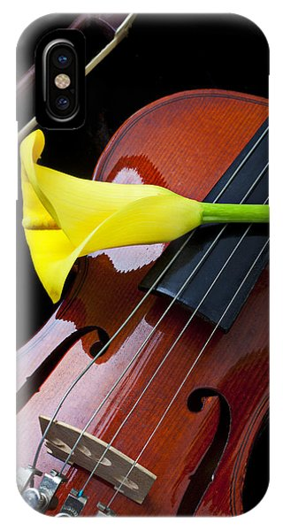 Violin iPhone Case - Violin With Yellow Calla Lily by Garry Gay
