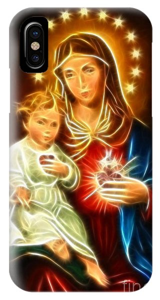 Spirituality iPhone Case - Virgin Mary And Baby Jesus Sacred Heart by Pamela Johnson
