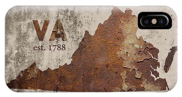 Cement iPhone Case - Virginia State Map Industrial Rusted Metal On Cement Wall With Founding Date Series 028 by Design Turnpike
