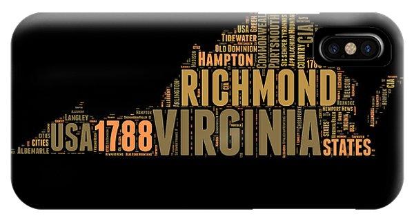 Virginia Word Cloud Map 1 IPhone Case