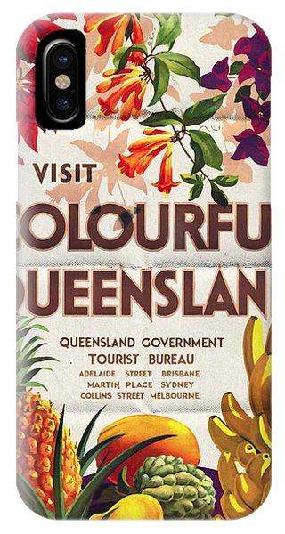 Visit Colorful Queensland - Vintage Poster Folded IPhone Case