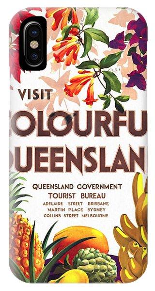 Visit Colorful Queensland - Vintage Poster Restored IPhone Case