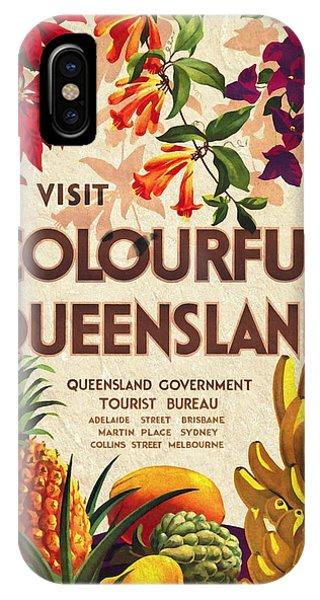 Visit Colorful Queensland - Vintage Poster Vintagelized IPhone Case