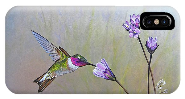 Humming Bird iPhone Case - Visiting The Purple Garden by Joe Mandrick