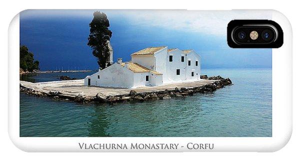 IPhone Case featuring the digital art Vlachurna Monastary - Corfu by Julian Perry