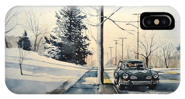 Volkswagen Karmann Ghia On Snowy Road IPhone Case