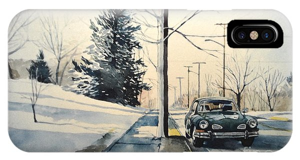 Volkswagen Karmann Ghia On Snowy Road IPhone Case