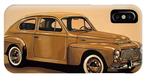 Oldtimer iPhone Case - Volvo Pv 544 1958 Painting by Paul Meijering