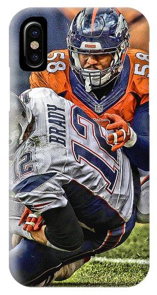 Iphone 4 iPhone Case - Von Miller Denver Broncos Art by Joe Hamilton
