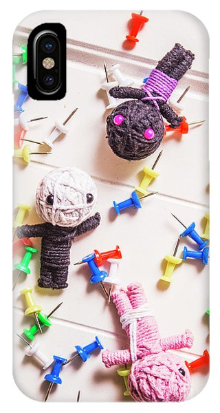 Voodoo Dolls Surrounded By Colorful Thumbtacks IPhone Case