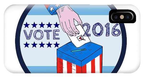 Election iPhone Case - Vote 2016 Hand Ballot Box Circle Etching by Aloysius Patrimonio