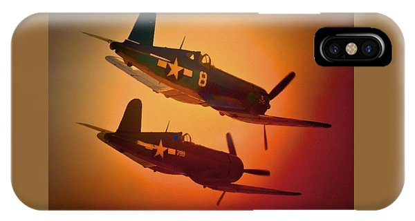 Vought F4u Corsair Sunset Two Ship IPhone Case