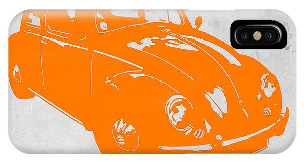 Beetle iPhone Case - Vw Beetle Orange by Naxart Studio