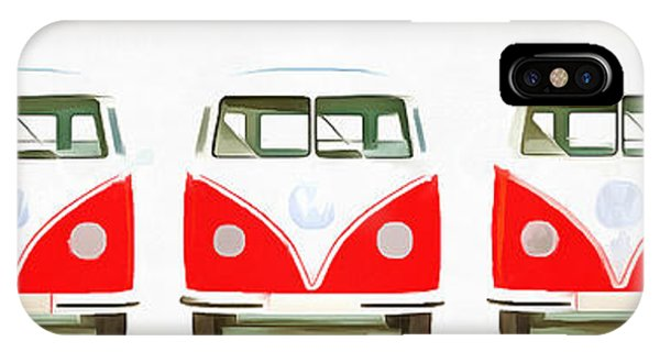 Sleeper iPhone Case - Retro Bus Line Up Painting by Edward Fielding