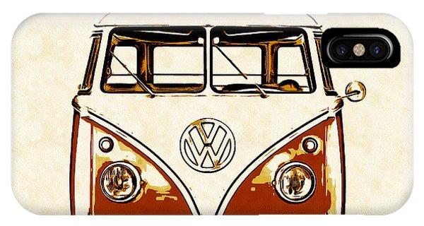 Sleeper iPhone Case - Vw Van Graphic Artwork Orange by Edward Fielding