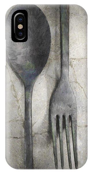 Fork iPhone Case - Wabi Sabi Utensils by Cynthia Decker