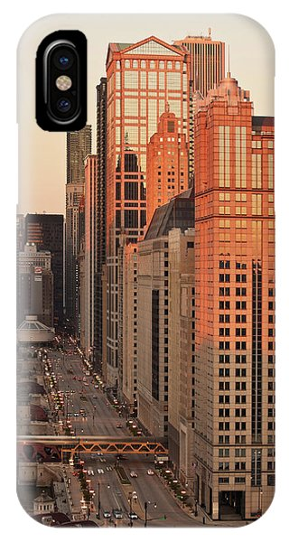 Chicago River iPhone Case - Wacker Drive Sunset Chicago by Steve Gadomski