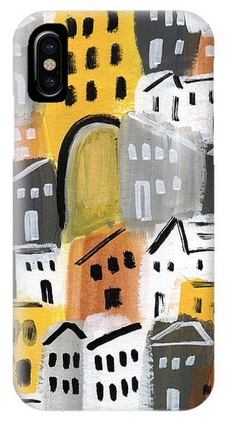 Town iPhone Case - Waiting For Autumn- Expressionist Art by Linda Woods