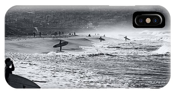IPhone Case featuring the photograph Waiting For The Surf By Mike-hope by Michael Hope