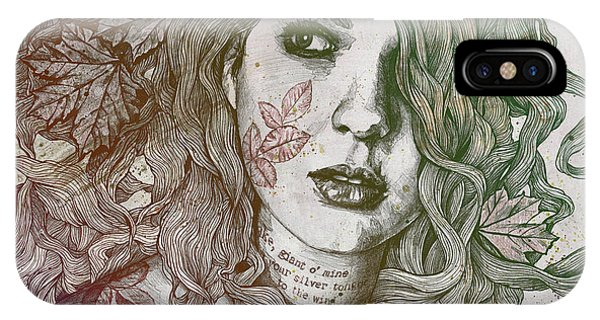 Pastel Pencil iPhone Case - Wake - Autumn - Street Art Woman With Maple Leaves Tattoo by Marco Paludet