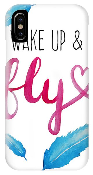 Feathers iPhone Case - Wake Up And Fly Watercolor by Michelle Eshleman