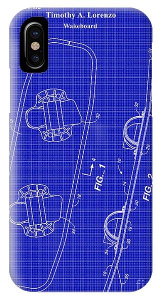 Water Ski iPhone Case - Wakeboard Patent Blueprint Drawing by Jon Neidert