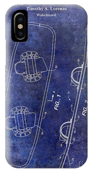 Water Ski iPhone Case - Wakeboard Patent Drawing Blue by Jon Neidert