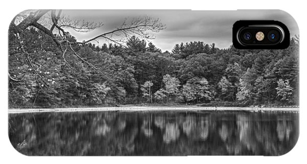 Walden Pond Fall Foliage Concord Ma Black And White IPhone Case
