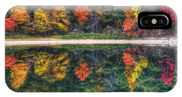 Walden Pond Fall Foliage Concord Ma Reflection IPhone Case