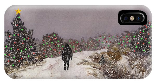 Snowy iPhone Case - Walking Into The Light by Anne Gifford