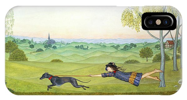 Distant iPhone Case - Walking The Dog  by Ditz