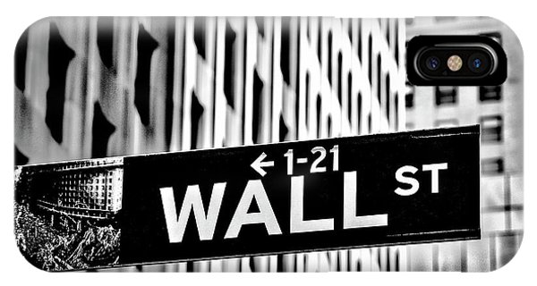 Street Sign iPhone Case - Wall St Sign New York In Black And White by Garry Gay