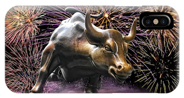Wall Street Bull Fireworks IPhone Case