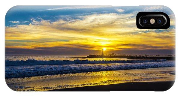 Navigation iPhone Case - Walton Lighthouse Setting Sun by Garry Gay