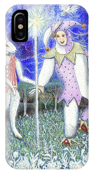 IPhone Case featuring the painting Wand With Magician And Jester by Lise Winne