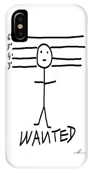 IPhone Case featuring the drawing Wanted - Stickman  by Marianna Mills