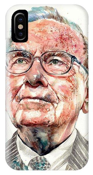 Business iPhone Case - Warren Buffett Portrait by Suzann Sines