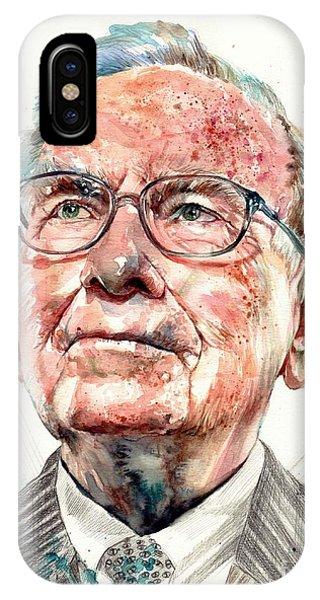 People iPhone Case - Warren Buffett Portrait by Suzann's Art