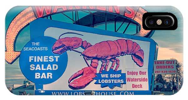 New Hampshire iPhone Case - Warrens Lobster House Neon Sign Kittery Maine by Edward Fielding