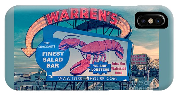 Warrens Lobster House Neon Sign Kittery Maine IPhone Case