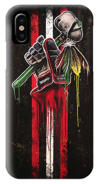 Hockey iPhone Case - Warrior Glove On Black by Michael Figueroa
