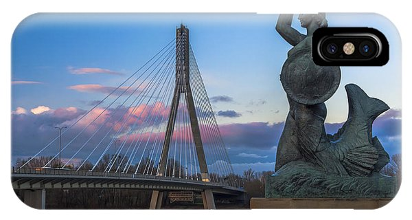 Warsaw Mermaid And Swiatokrzyski Bridge On Vistula IPhone Case