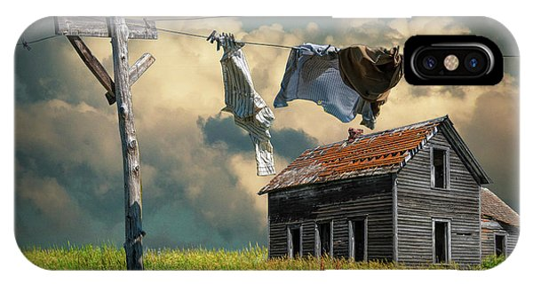 Wash On The Line By Abandoned House IPhone Case