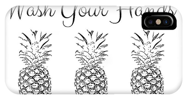 Fruit iPhone Case - Wash Your Hands Pineapples- Art By Linda Woods by Linda Woods