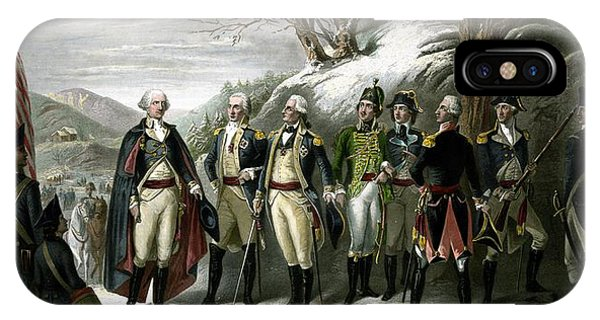 George Washington iPhone Case - Washington And His Generals  by War Is Hell Store