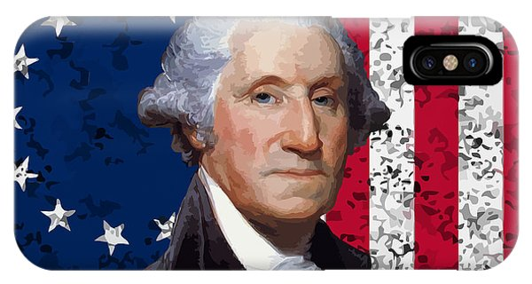 George Washington iPhone Case - Washington And The American Flag by War Is Hell Store